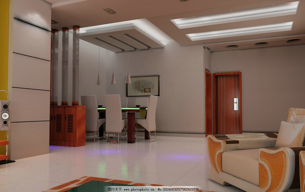 餐厅效果图      餐桌 椅子 桌椅 灯光 客厅一角 沙发 地板 室内设计
