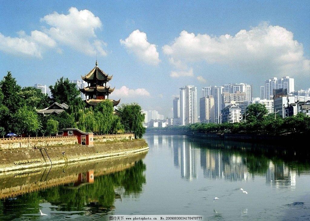 成都清水河 河畔 古建筑 八角楼 自然风景 旅游摄影 10dpi jpg