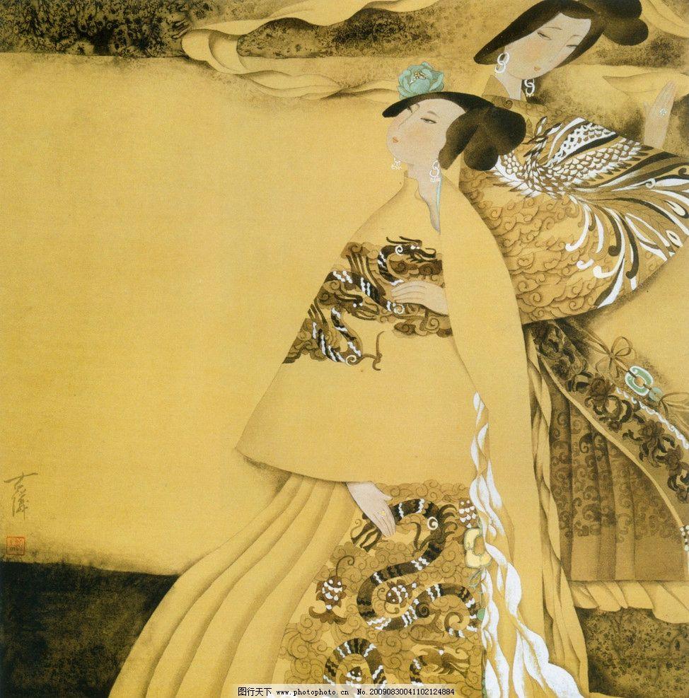 双娇图 古代 美女 国画 工笔 侍女 女性妇女 人物图库