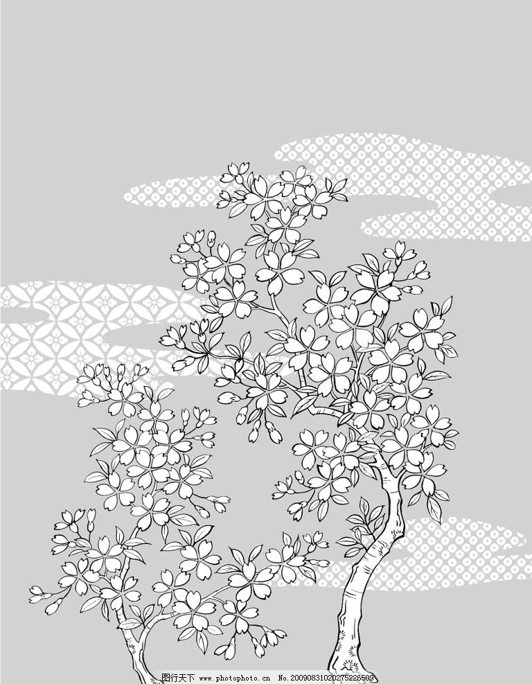 天凌 移门 tl071 桃花依旧 树 黑白 底纹背景 底纹边框 矢量 ai
