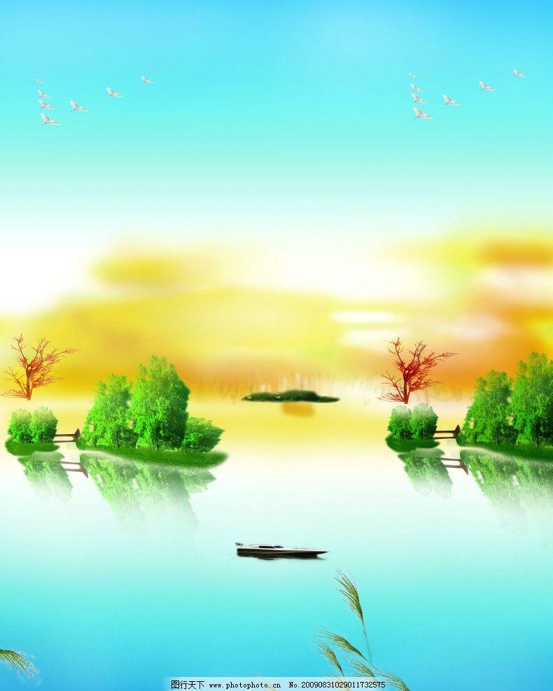 自然风景 玻璃移门图案 晚霞 湖 小船 树林 芦苇 其他设计 源文件