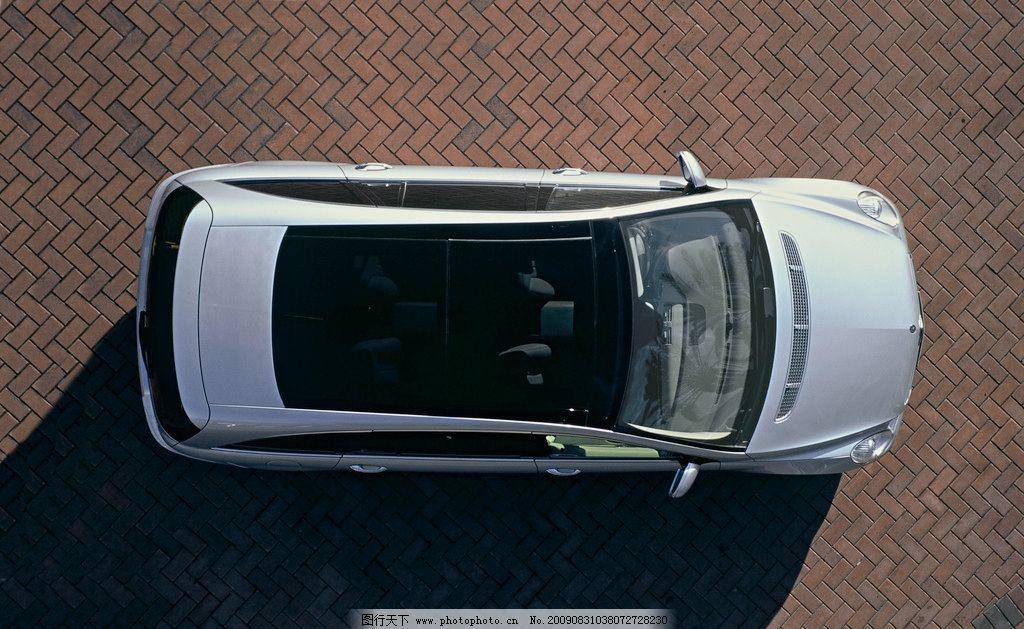 奔驰r级轿车 俯视图 地砖 交通工具 现代科技 摄影