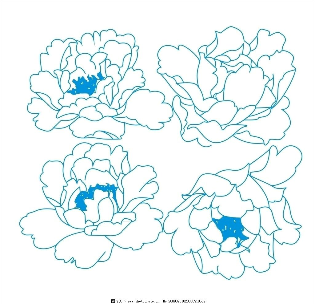 牡丹花 移门 花卉 花边花纹 底纹边框 设计 300dpi jpg