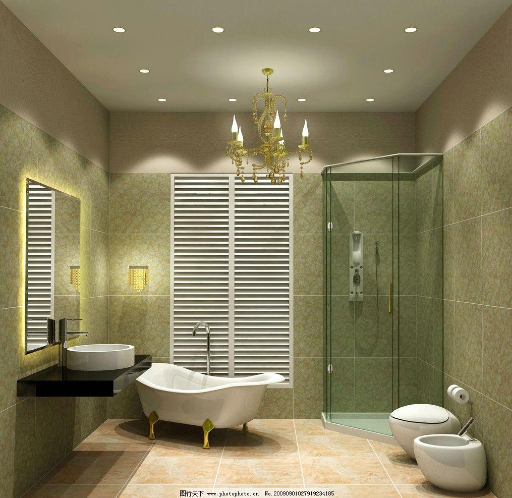 欧式卫生间效果图 浴室装饰 浴缸 洗手台 淋浴房 室内效果图图片