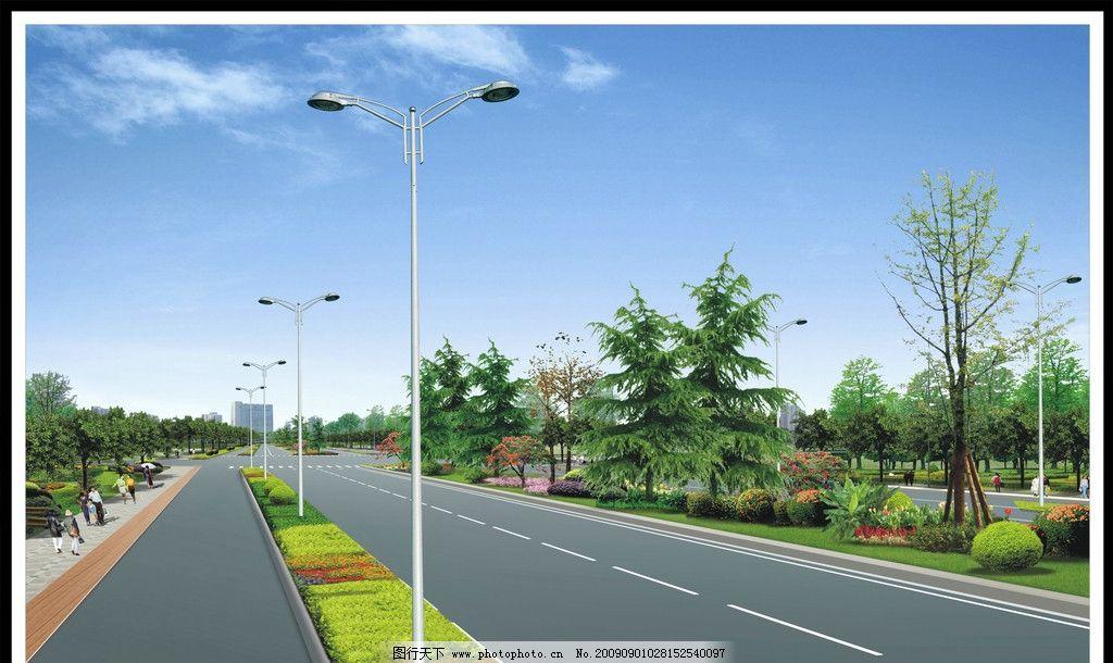 路灯效果图 城市道路夜景 环境设计 景观设计 设计图库 源文件 72dpi
