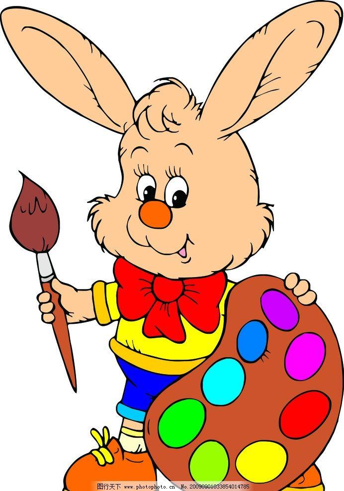 可爱的卡通小兔子矢量素