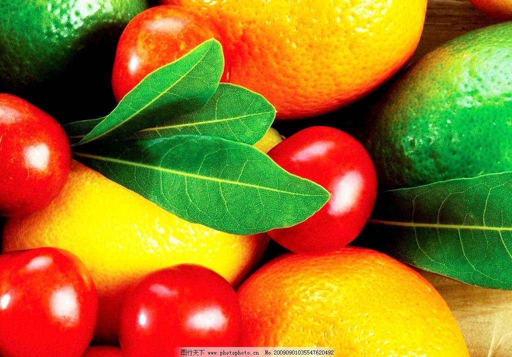 水果 橙子 芒果 橘子 小西红柿 叶子 绿色 黄色 红色 新鲜
