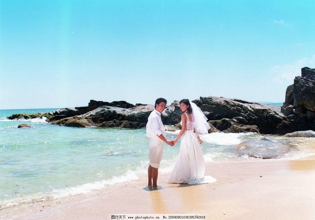 海滨婚纱照 海边 碧海蓝天 甜蜜 浪漫 俊男美女 婚庆摄影 人物摄影