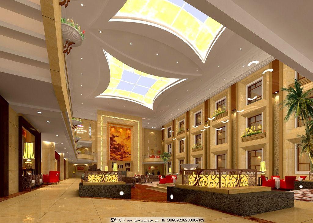 四季大厅效果图 前台效果图 大堂 酒店 宾馆 吊顶效果图 大厅前台效果