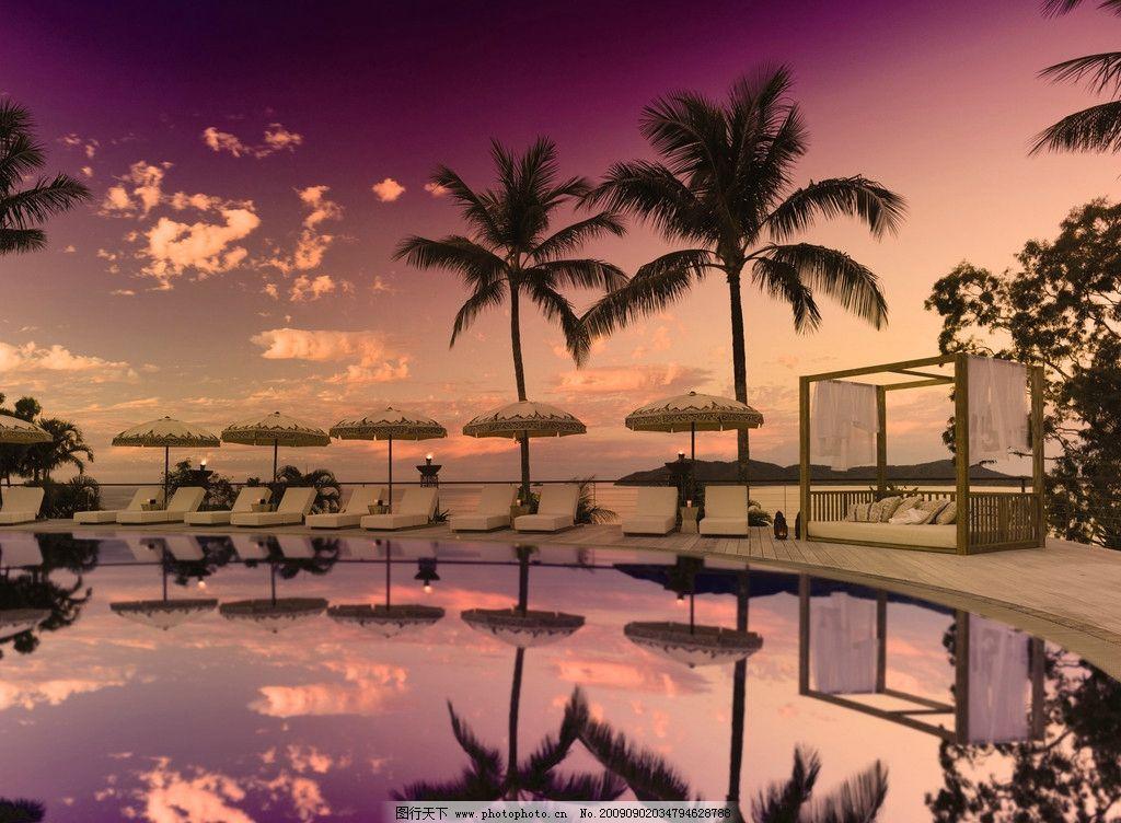 风景图 自然风景 别墅 椰子树 水山 蓝天白云 伴晚 晚霞 美丽风景