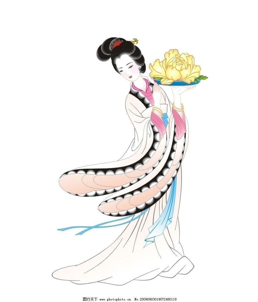 牡丹仙子 古代仕女 白描 古典美女 手绘 工笔人物 国画 绘画书法 文化