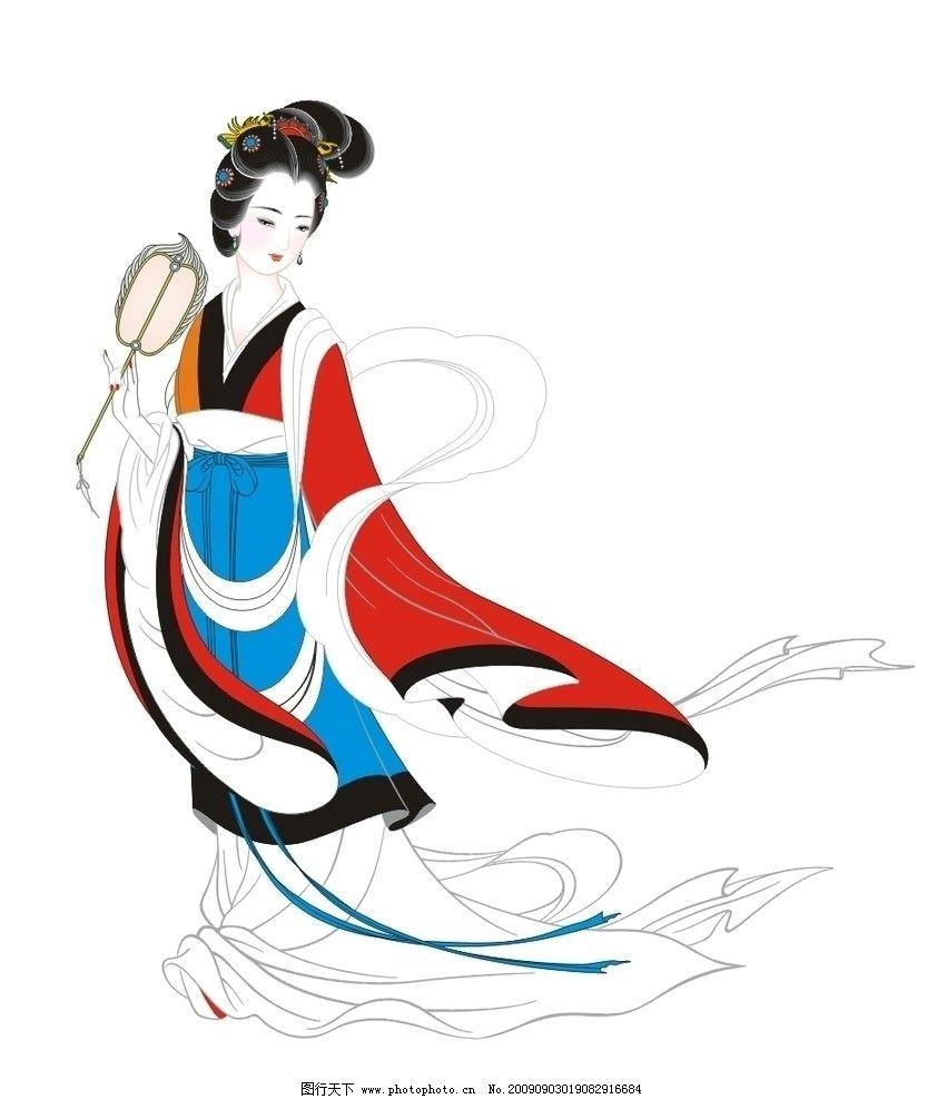 洛神 古代仕女 白描 古典美女 手绘 工笔人物 国画