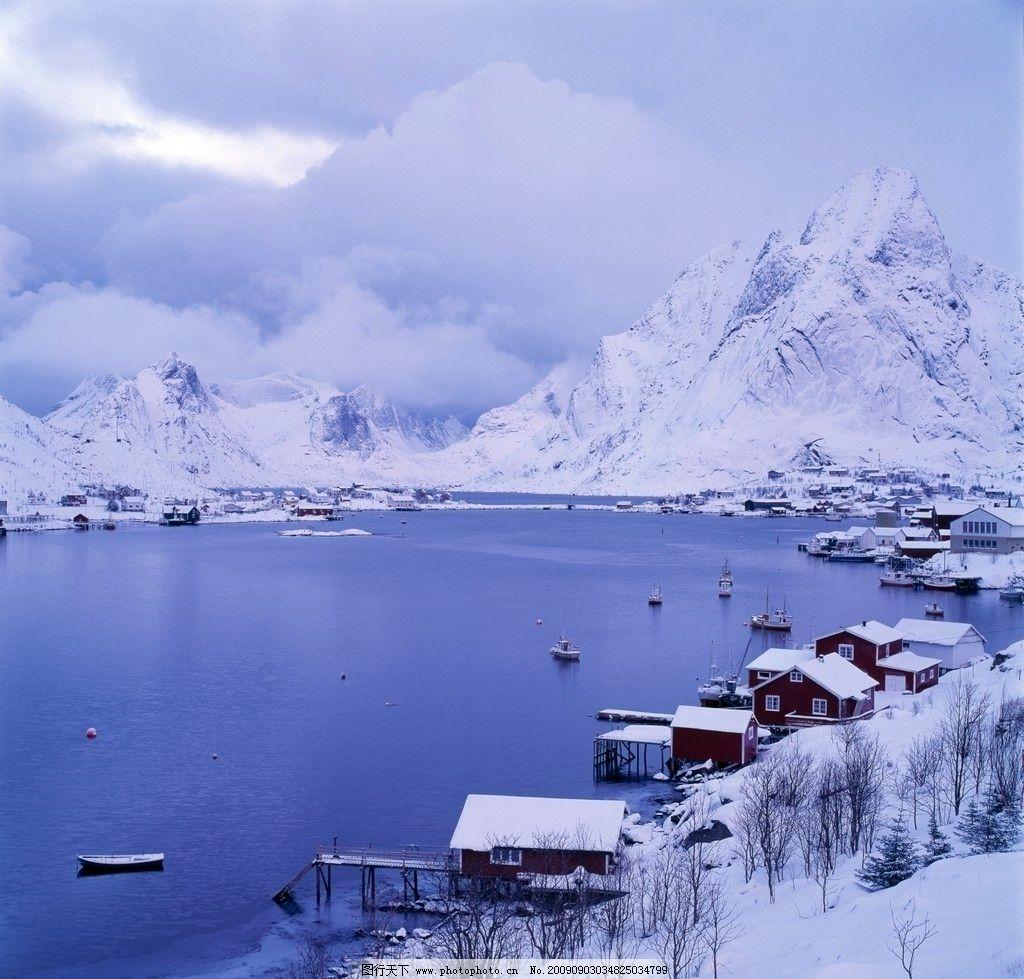 雪景湖畔 写景湖畔 雪山 湖边小屋 自然风景 自然景观 摄影 300dpi