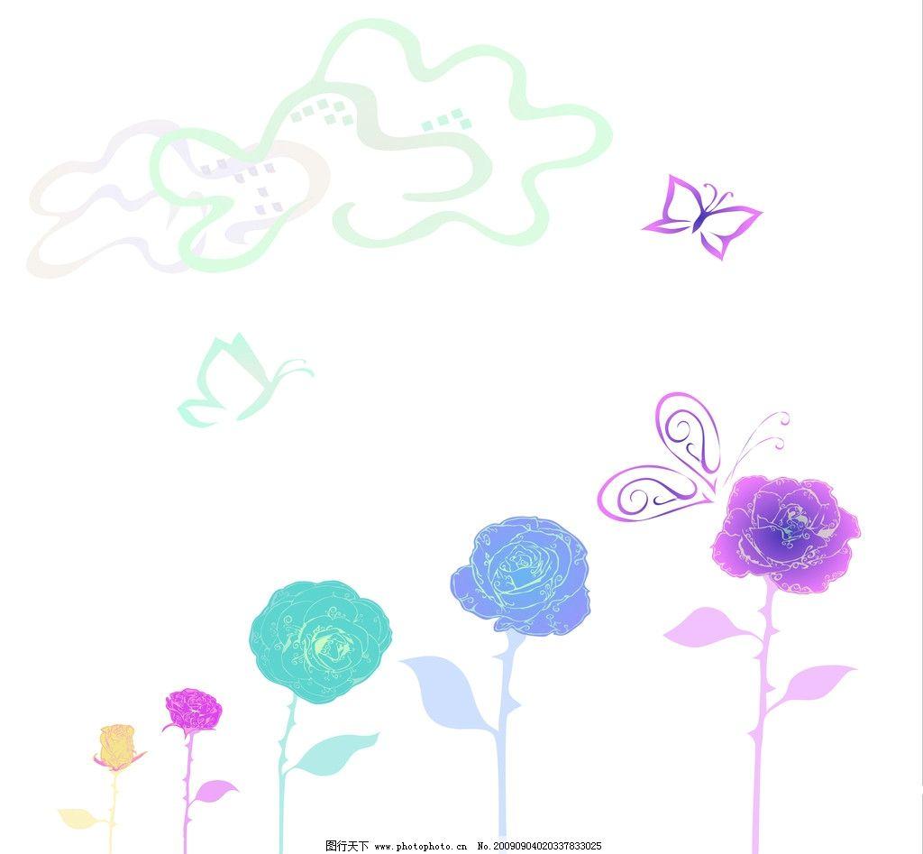儿童插画 花朵 蝴蝶 移门 花边花纹 底纹边框
