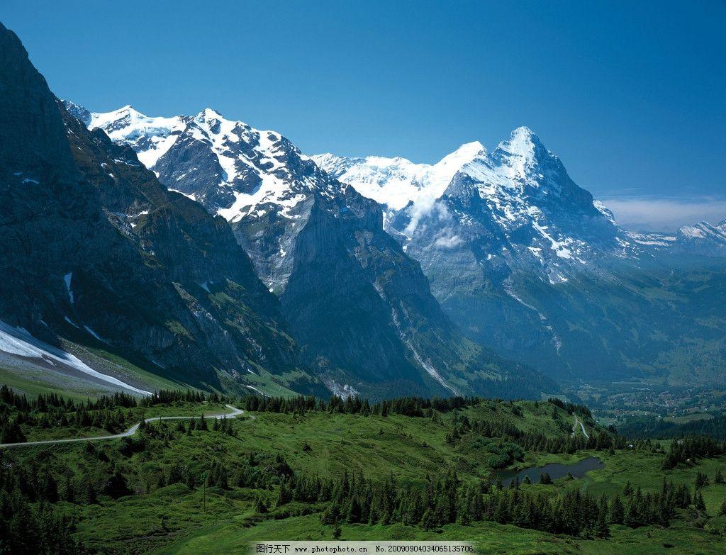 德国风景 雪山 草原 山路 国外旅游