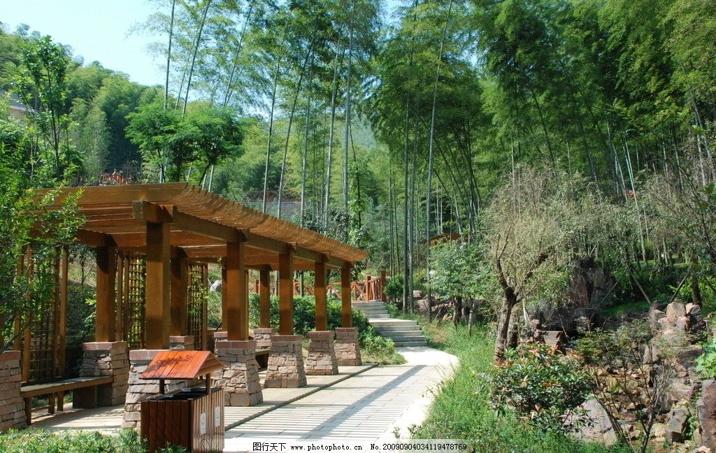旅游胜景17 竹子 休息长廊 小路 自然风景 旅游摄影 300dpi jpg