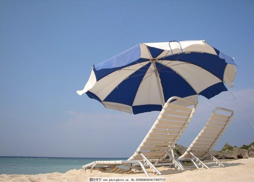 沙滩美景 遮阳伞 躺椅 海边 自然风景 旅游摄影 72dpi jpg