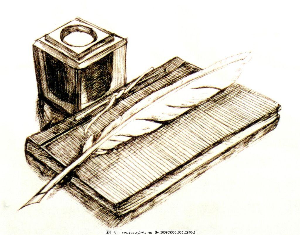 鹅毛笔素描 欧式文化 版画 传统文化 文化艺术 设计 400dpi jpg