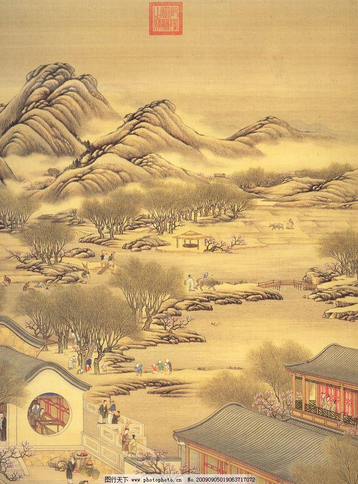 古画绘画 国画 山水 风景图 古代人物 古代建筑 耕田 绘画书法