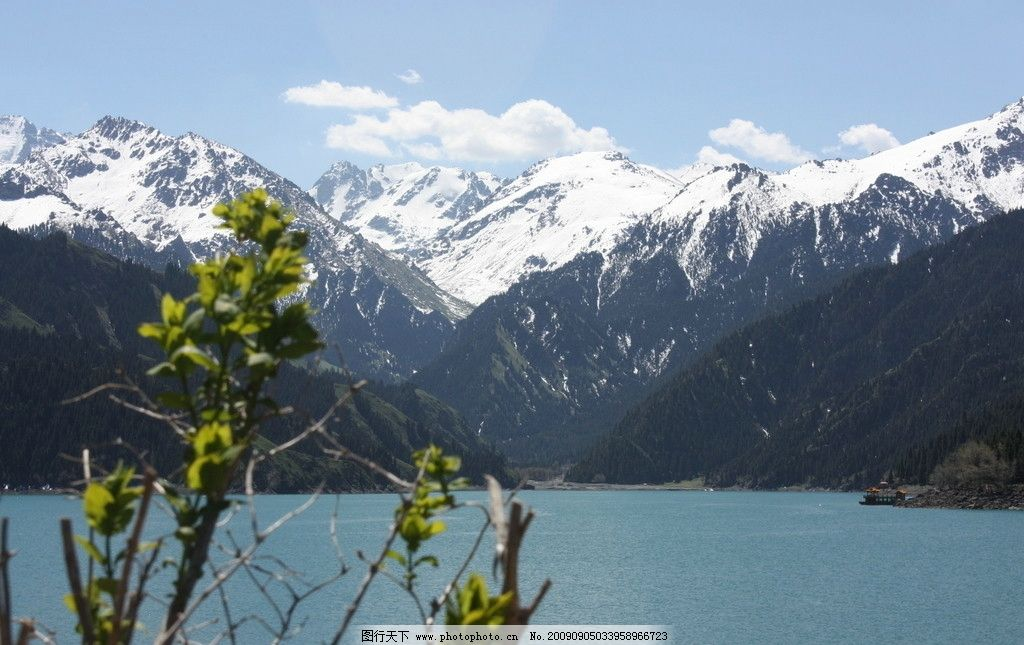 远眺雪山 新疆 天山 天池 旅游 湖泊 新疆天山天池 国内旅游