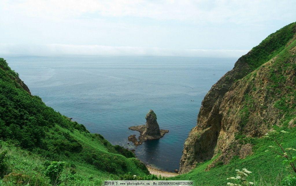望海 山水 大海 海边 远景 天空 云彩 山峰 摄影图库 大自然景观 自然