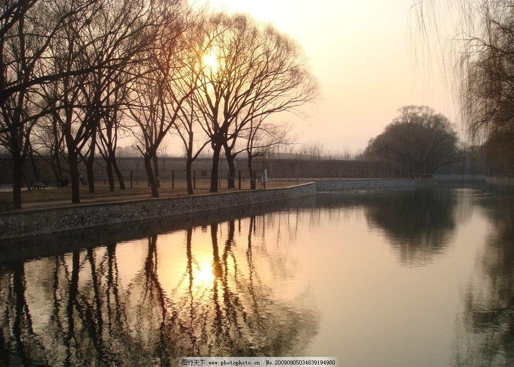 夕阳风景 河流 堤岸 垂柳 阳光 自然风景 自然景观 摄影 72dpi jpg