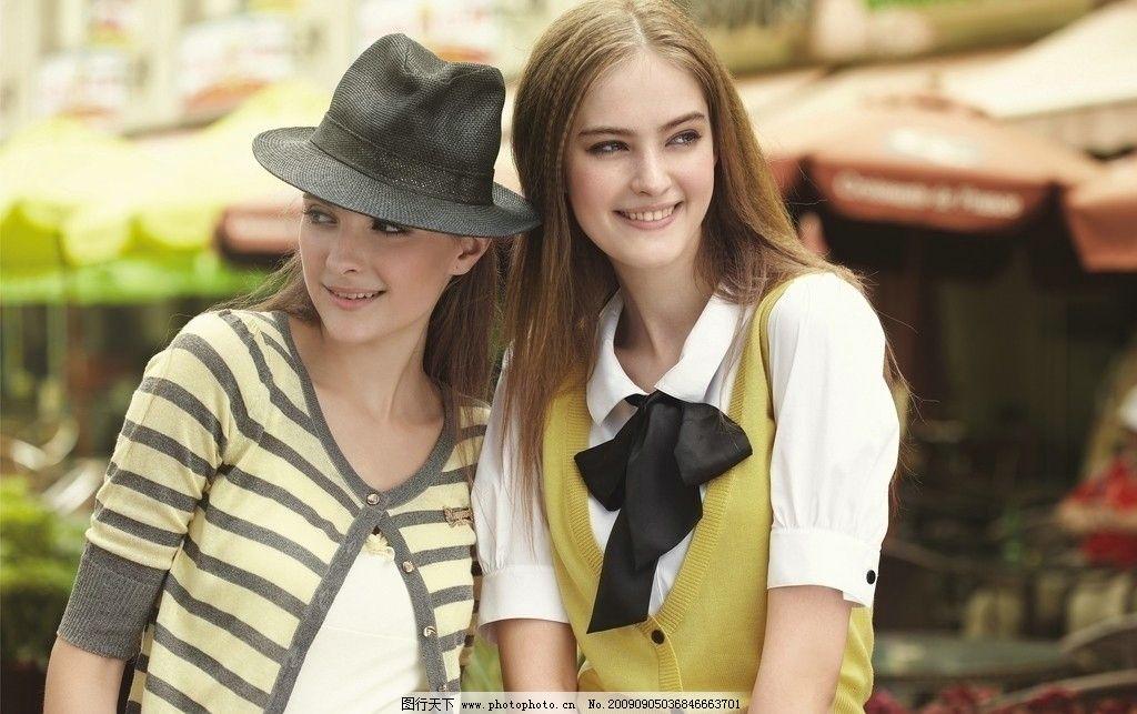 美女 服装模特 女人 美少女 休闲服 外国美女 清纯 笑容 长发 帽子 女