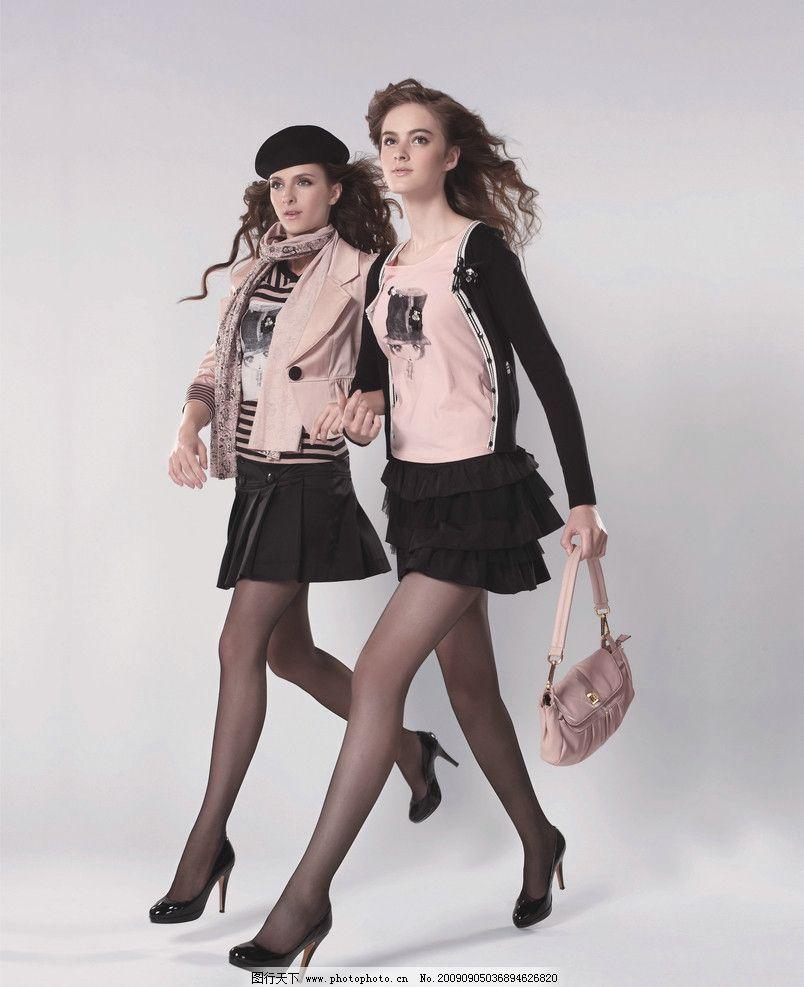 美女 服装模特 女人 美少女 休闲服 外国美女 短裙 高跟鞋 包 女性
