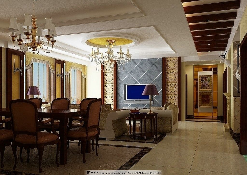家居设计 客厅 电视背景 欧式风格 餐桌 沙发 台灯 水晶灯 墙体造型