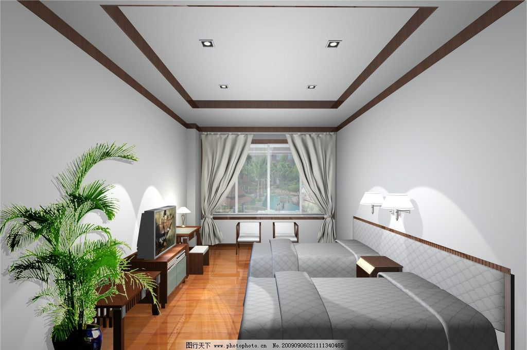 標準間效果圖 標間 睡覺 休息間 床 賓館酒店空間 3d作品 3d設計 300