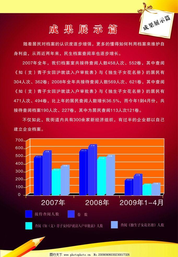 成果展示篇图片,数据表 红色背景 铅笔 展板类 矢量