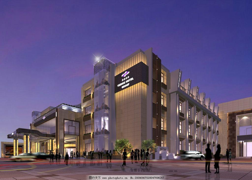 宾馆外观效果图图片_建筑设计_环境设计_图行天下图库