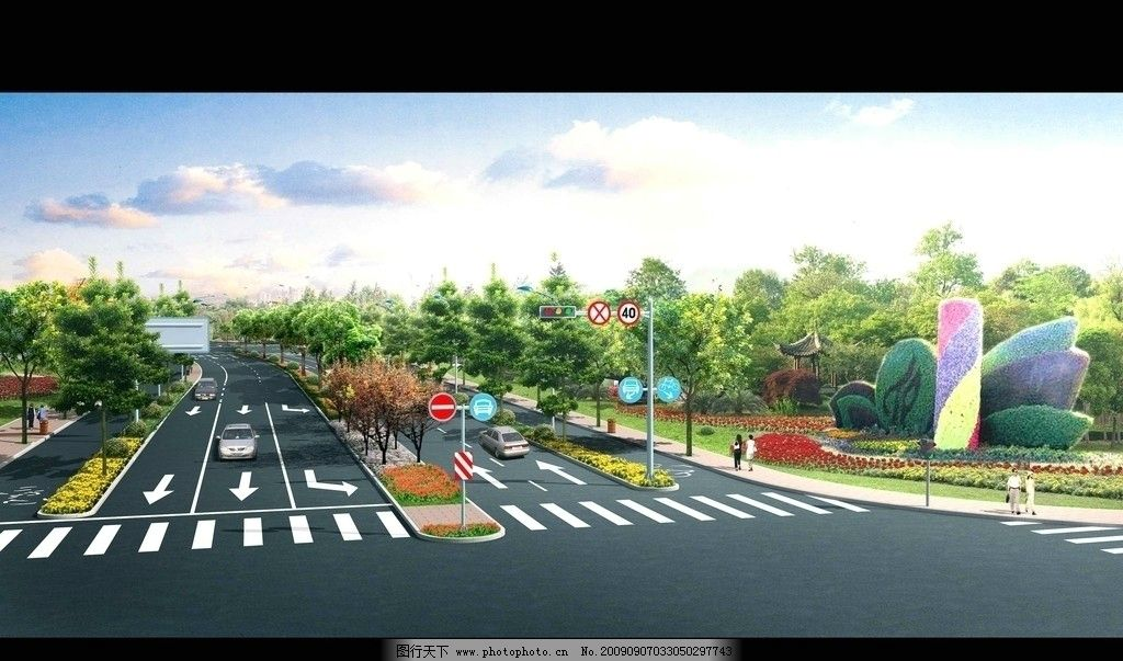 道路绿化效果图 道路效果图 交叉口 信号灯 绿地 建筑 汽车 行