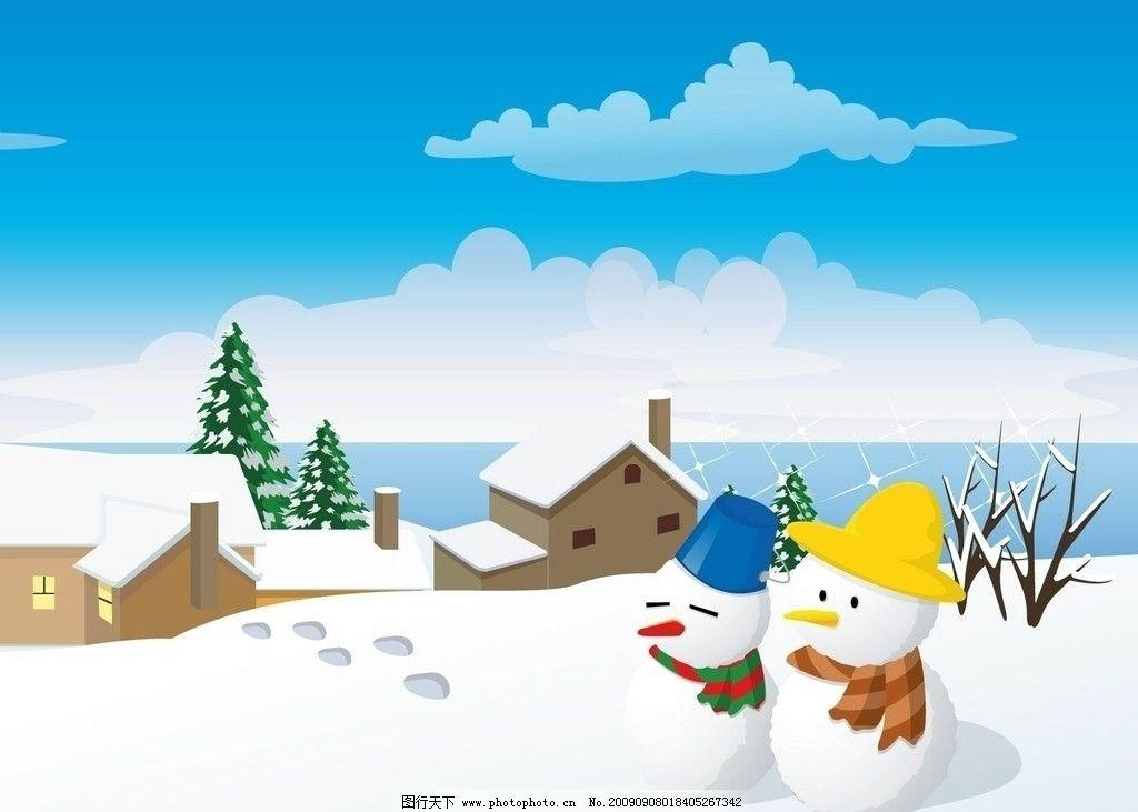 雪人 冬天 房子 雪景图片