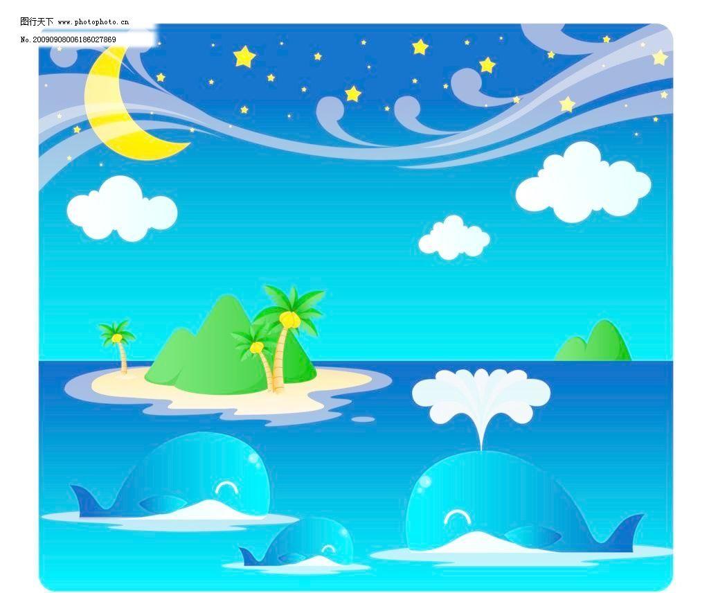夏天风景素材图片,大海 海洋 鲸鱼 喷水 太阳 夏日-图
