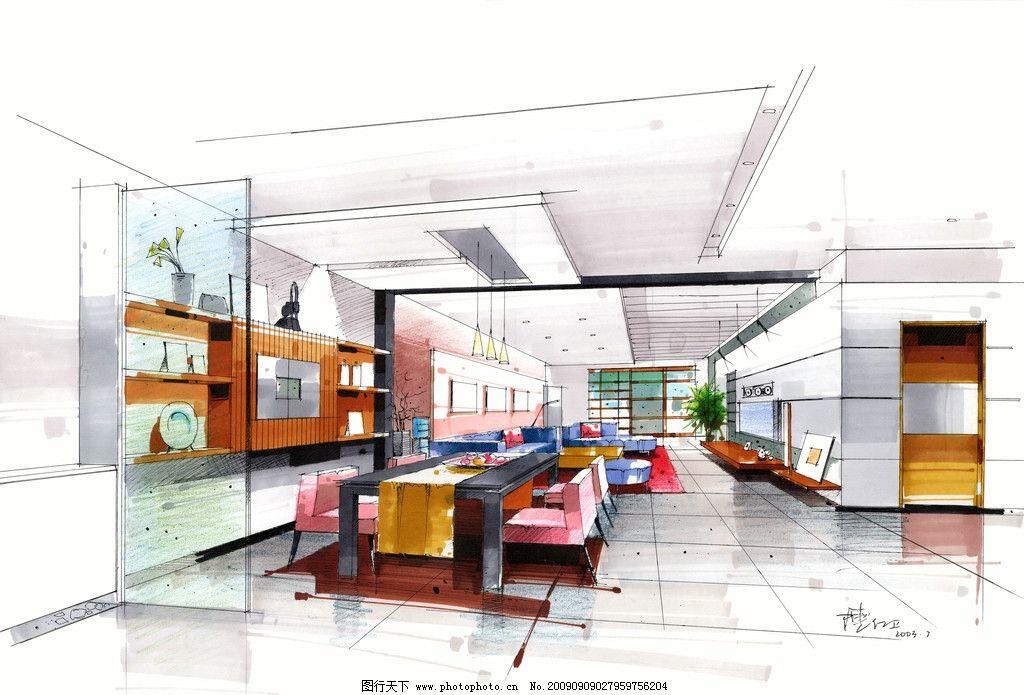 客厅手绘 沙发 茶几 台灯 窗帘 家装 装饰 室内设计 现代风格 壁画