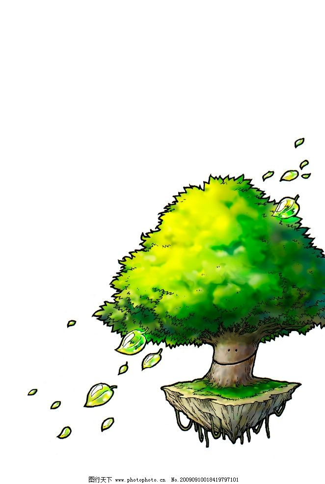 动漫卡通树 绿色 手绘