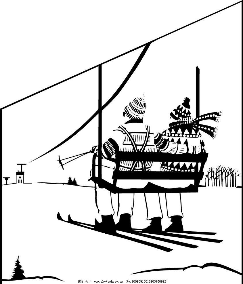 滑雪的人 体育运动 娱乐健身 人物 缆车 滑雪运动素材 文化艺术 矢量