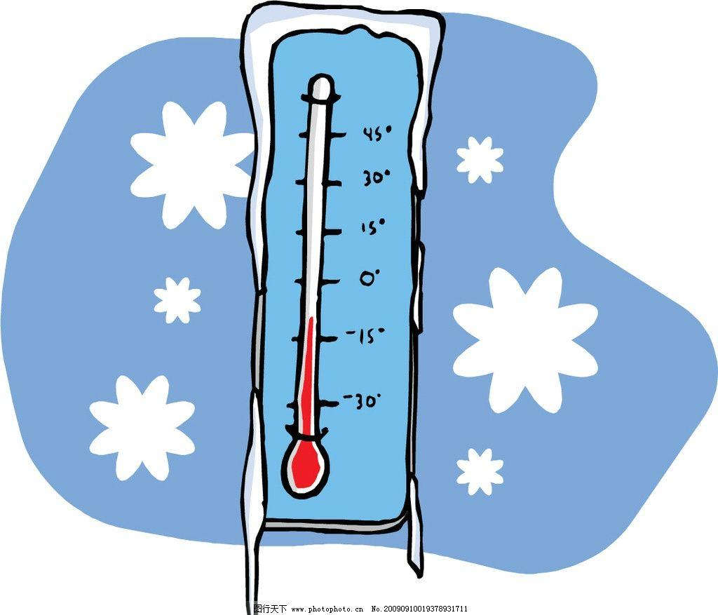 雪花 温度计 冬天 春节 节日素材 矢量
