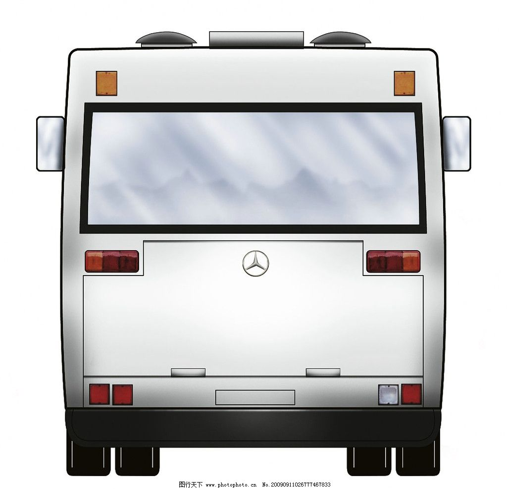 公交车尾视图 立面图 交通工具 现代科技 设计 jpg