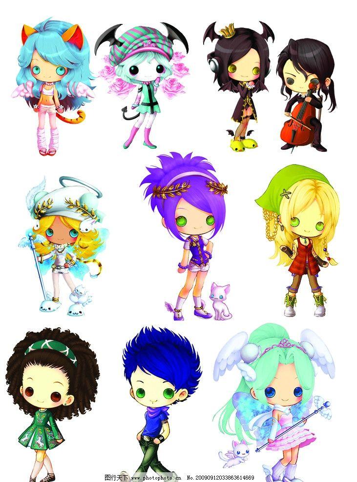 可爱韩国卡通 卡通人物 女孩 插画 美少女 漫画人物 其他 源文件