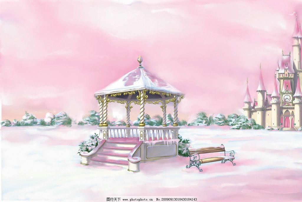 粉色城堡 风景漫画 动漫动画 设计 300dpi jpg