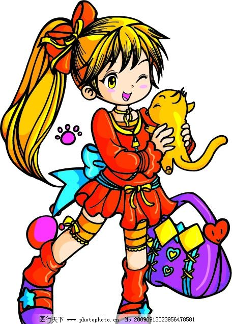 卡通 卡通女孩 手上抱着猫