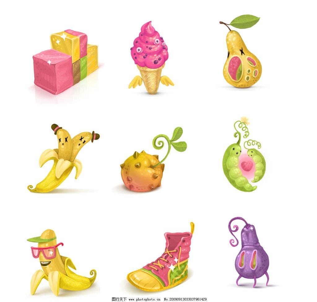 水果图标 香蕉 梨 礼盒