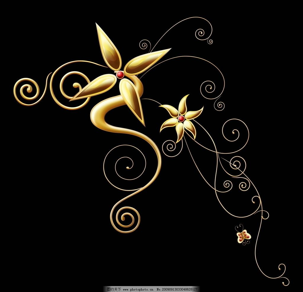 黑色 艳丽 暗金色 花朵 花瓣 纹理 墙纸 juice drops 精美典雅花纹暗