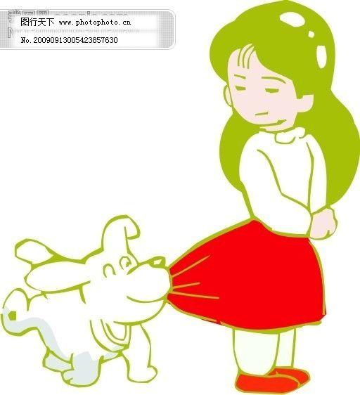 动物与孩子矢量图5