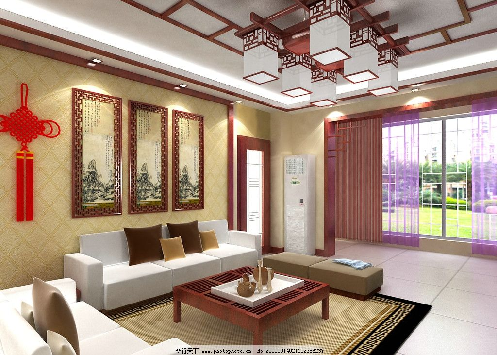 中式风格效果图 室内装饰 装修效果图 客厅效果图 沙发背景 3d作品 3d