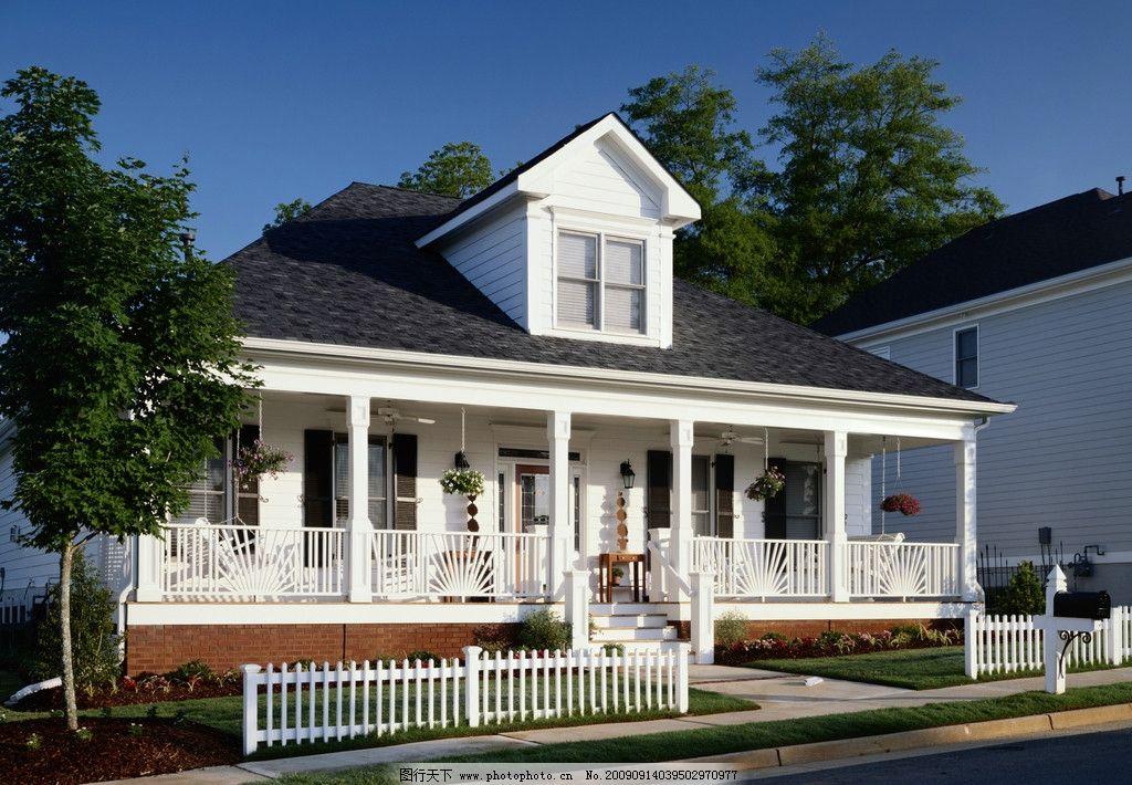 别墅 欧洲风格 屋顶 幽静 栅栏 数码 白蓝 园林建筑 建筑园林 摄影