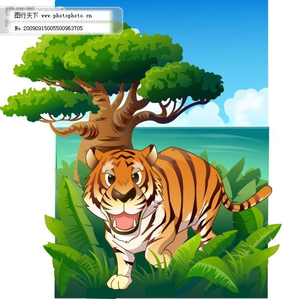 矢量可爱卡通老虎