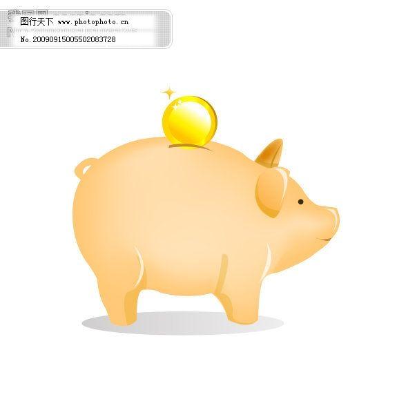 矢量卡通可爱猪